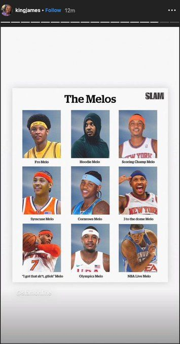 LeBron James posts story about Carmelo Anthony