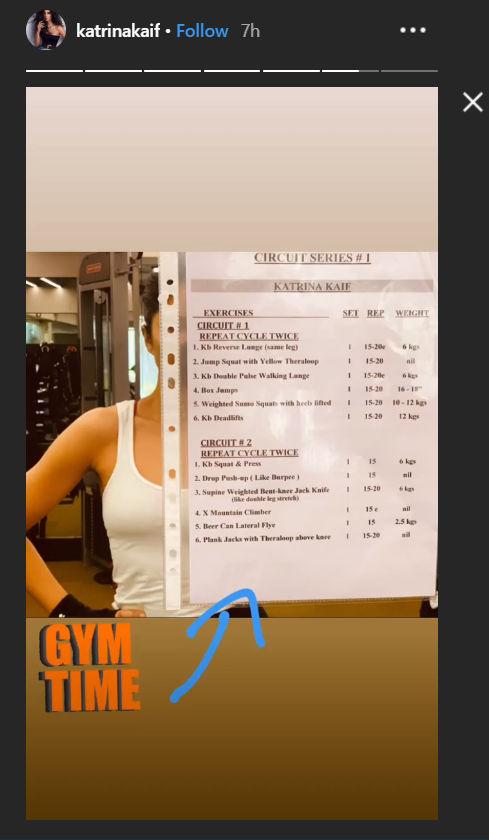 Katrina Kaif workout schedule