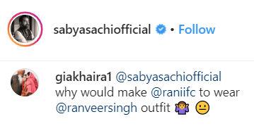 comment on Sabyasachi's post
