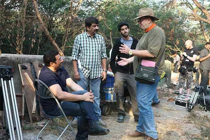 A still from the sets of Ghayal once again
