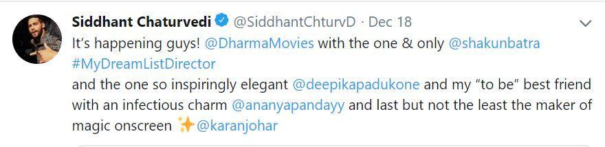 Siddhant Chaturvedi post