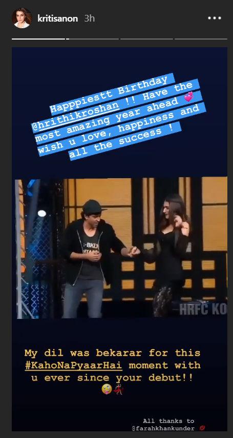 Kriti Sanon wishes Hrithik Roshan Image Kriti Sanon Instagram