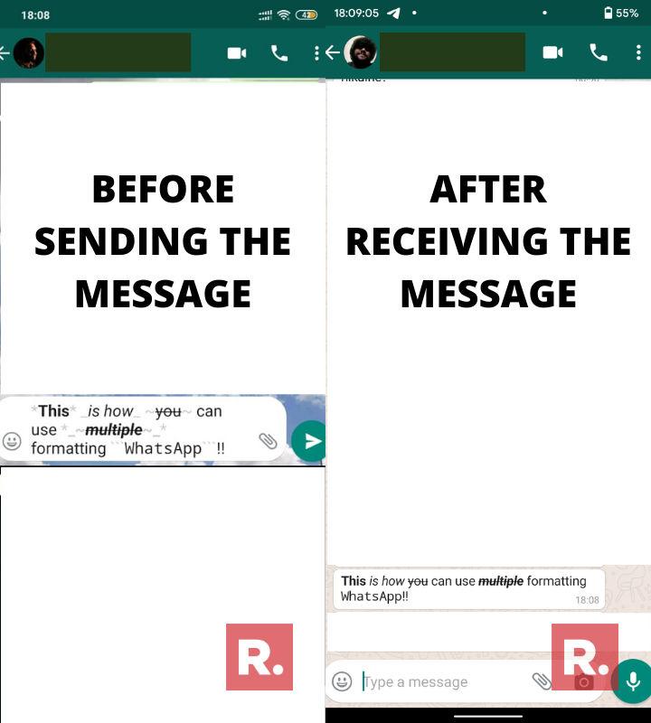 Whatsapp formatting, bold in whatsapp, italics in whatsapp, strikethrough in whatsapp