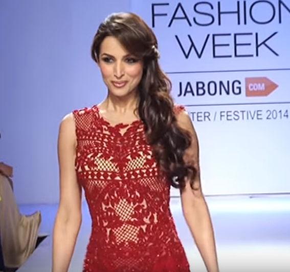 Malaika in red designer gown at Lakme fashion week