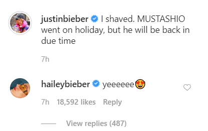Hailey Baldwin's comment on Justin Bieber's post