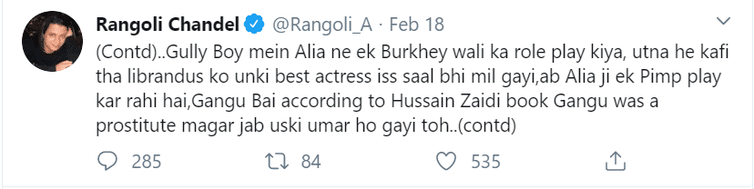 rangoli chandel, alia bhatt, gully boy, raazi