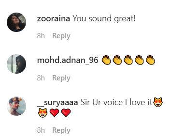 Comments on Prateik Babbar's video on Instagram