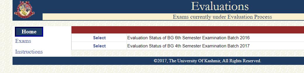 egov uok evaluation marks, bg 6th sem,