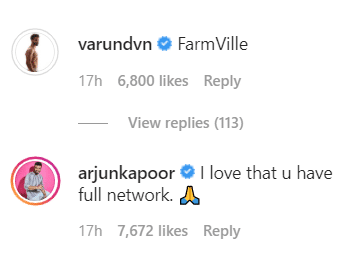 Varun Dhawan and Arjun Kapoor's comment