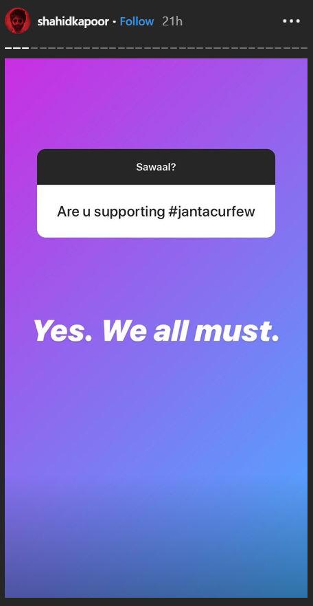 Shahid Kapoor supporting Janta Curfew.