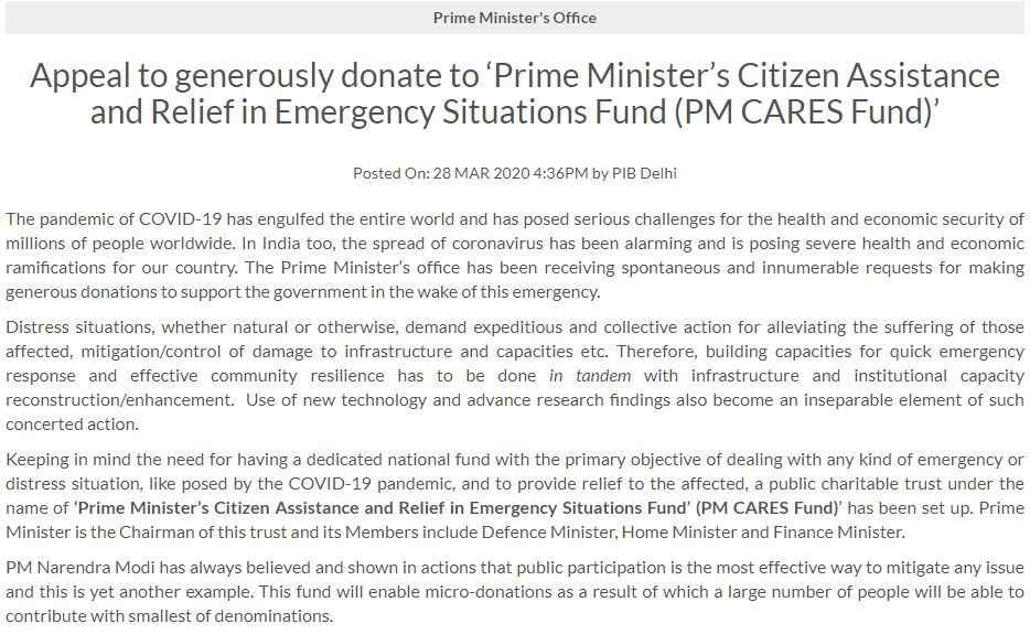 PM Modi creates fund to fight coronavirus, urges citizens to donate
