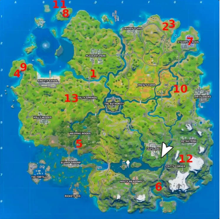 Fortnite Xp Coins Week 7 Locations Locations Of Purple Blue Green Golden Xp Coins