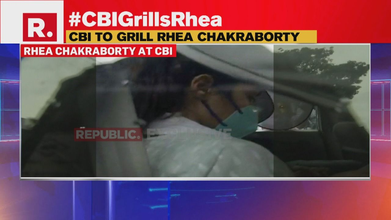 Rhea Chakraborty Makes Angry Gesture At Camera Upon Arrival At Cbi In Sushant Case Watch Republic World