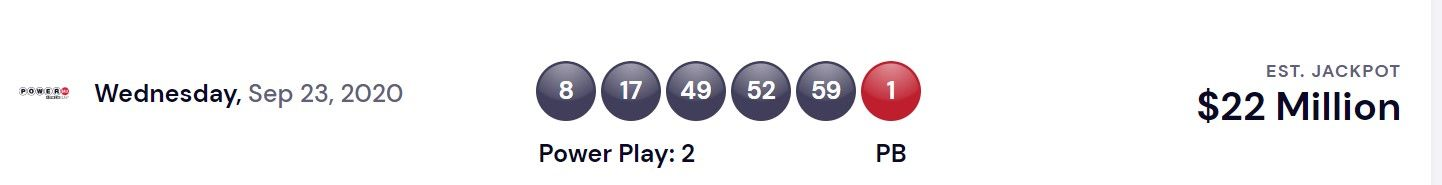 Powerball Usa Lottery Winning Numbers For Sep 23 2020 Winning Results
