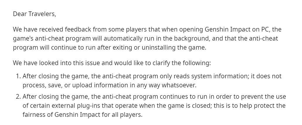 Genshin Impact Spyware Rumour Addressed By Developer Company
