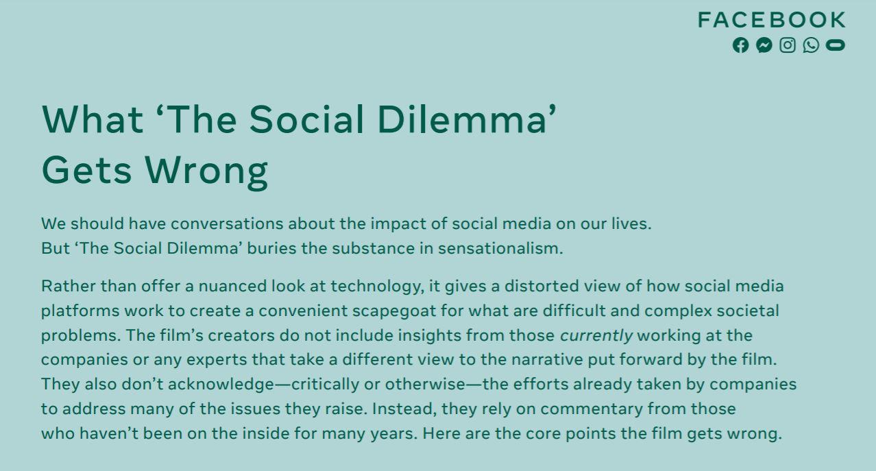 facebook social dilemma netflix facebook response to social dilemma facebook social dilemma netflix facebook response to social dilemma