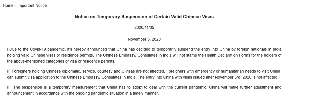 China Temporarily Suspends Indians Entry Into China Citing Current Covid Pandemic