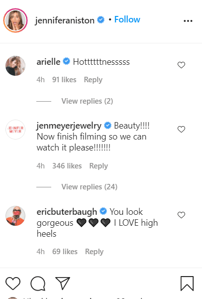 comments gotten by Jennifer Aniston from her fans