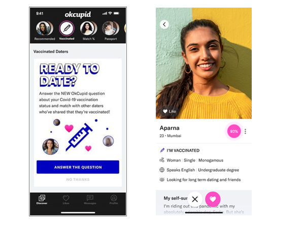 Dating App Introduces I M Vaccinated Badge Special Stack On Users Profile