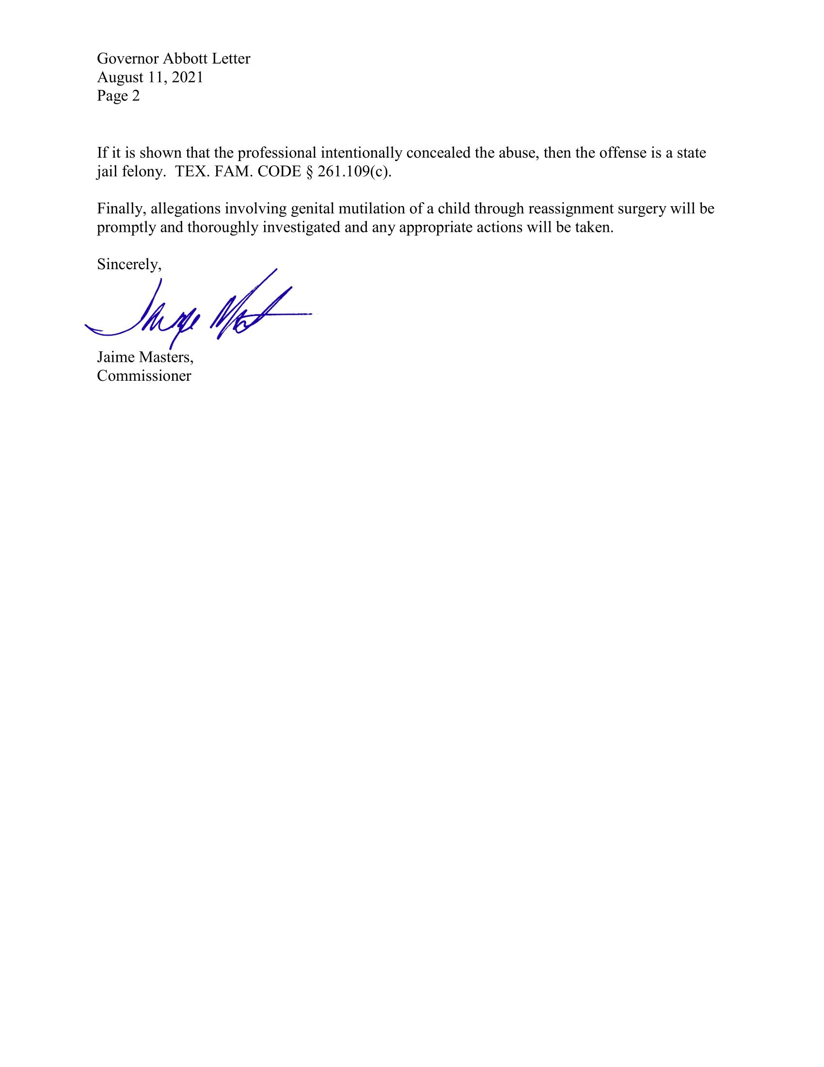 DFPS letter to Texas Gov. Credit: DFPS