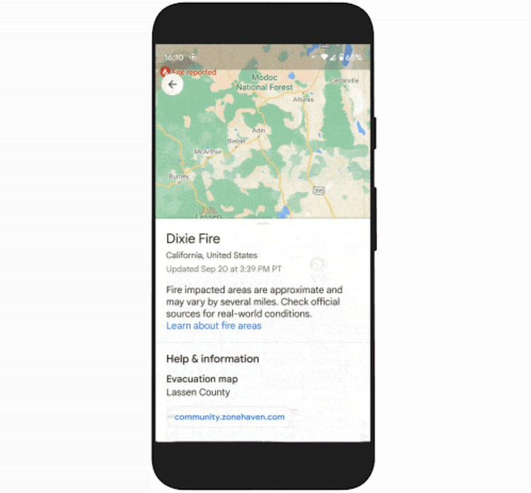 Google Maps Wildfire layer feature