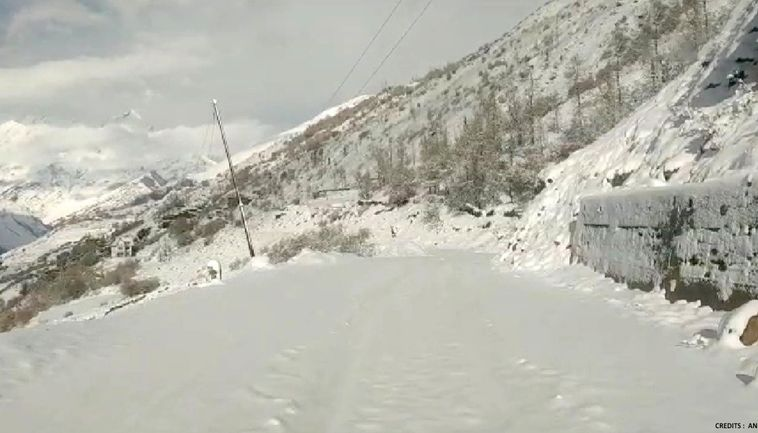 Snowfall in northern India