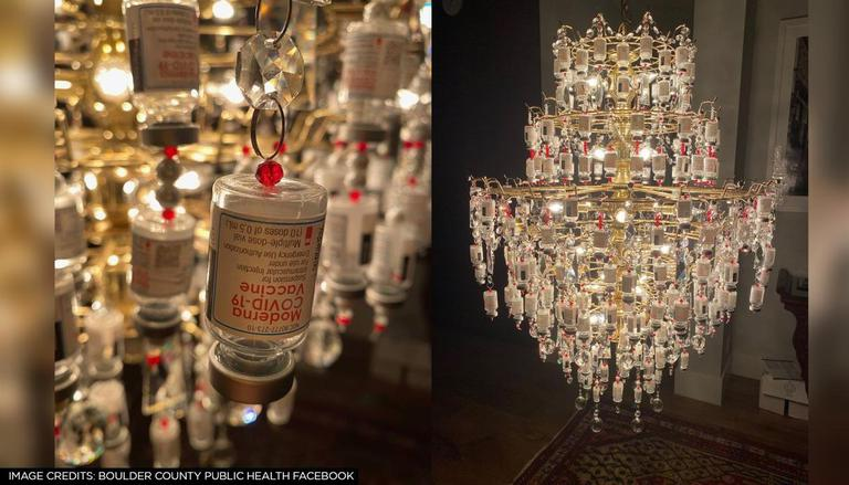 Used Covid Vaccine Vials, From A Chandelier