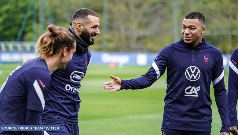 Real Madrid-Barcelona rivals Benzema, Griezmann bond during France training  session: WATCH