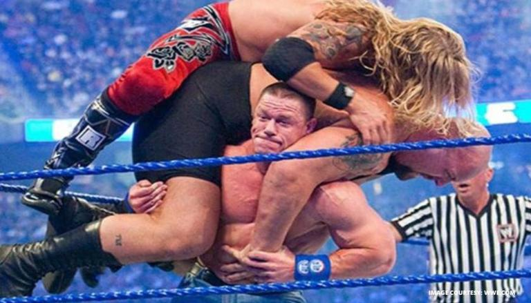 John Cena shocks all by lifting Edge, Big Show at the same time at WrestleMania: Watch