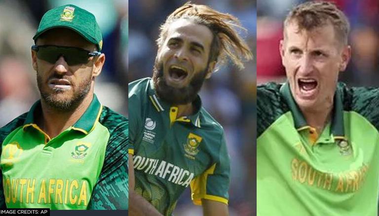 Faf du Plessis, Imran Tahir, and Chris Morris