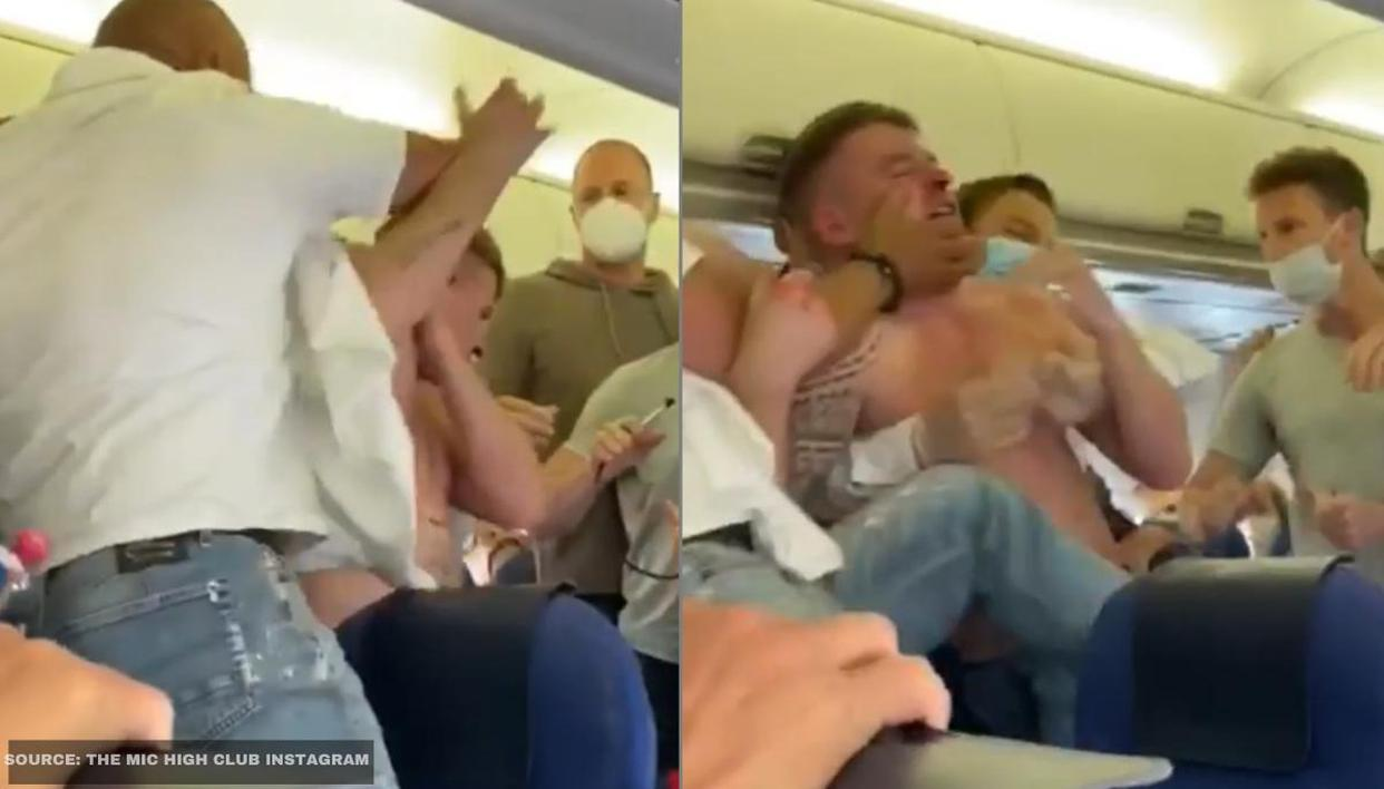 Viral video: Violent fistfight ensues as 2 passengers refuse to wear masks on an aircraft - Republic World