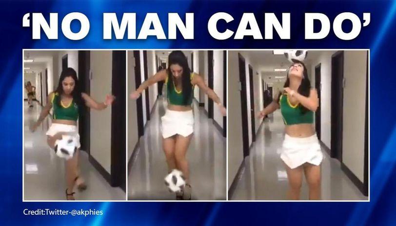 Video: Woman juggling football in high heels leaves netizens stunned