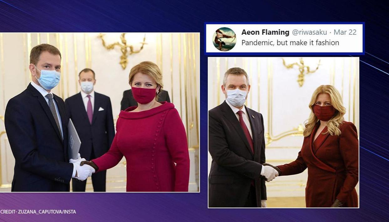 Slovakian President Wears Face Masks Matching Her Dresses