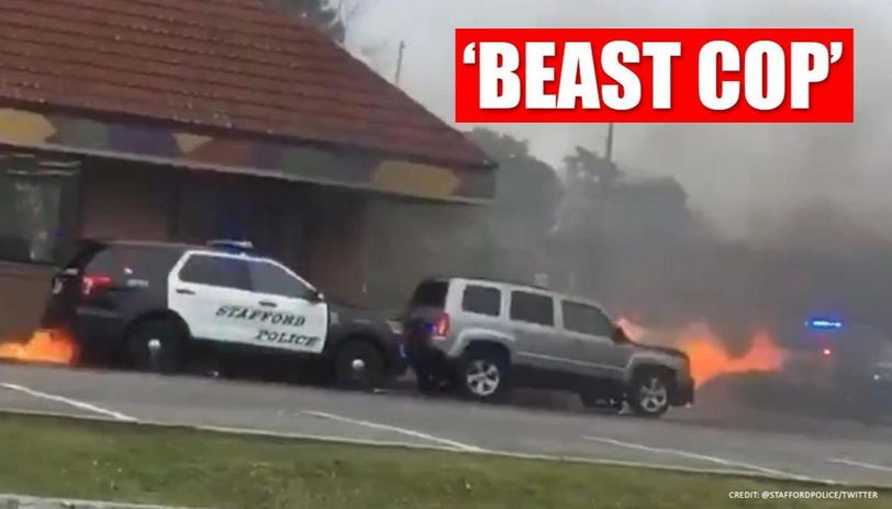 'Well done officer! ': Cop pushes the burning car away from restaurant in New Jersey