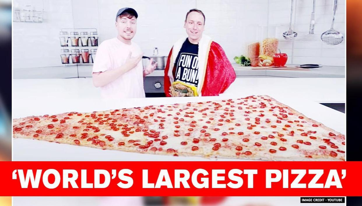 YouTuber MrBeast eats 'World's Largest Pizza' and later regrets the challenge - Republic World