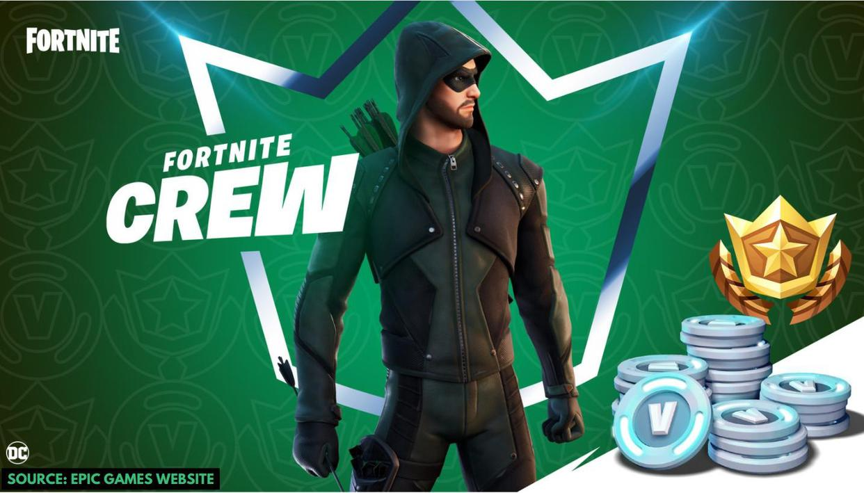 Skin for Fortnite Green Arrow arrives with the next Fortnite Crew Pack