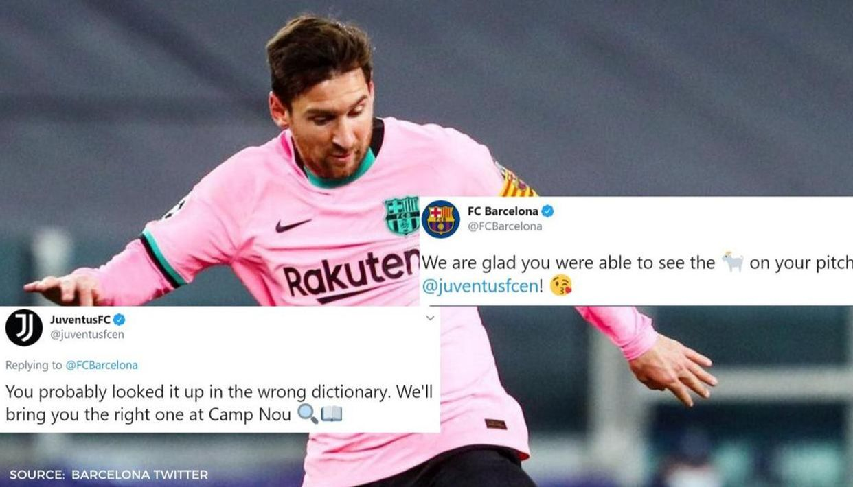 Barcelona Mock Cristiano Ronaldo With Messi Goat Tweet Juventus Hit Back