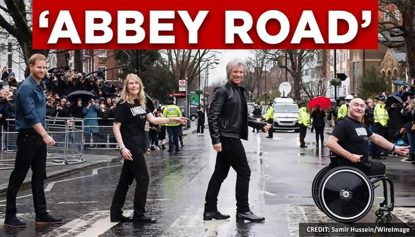 Prince Harry and Bon Jovi recreate Beatles' iconic cover, netizens delighted