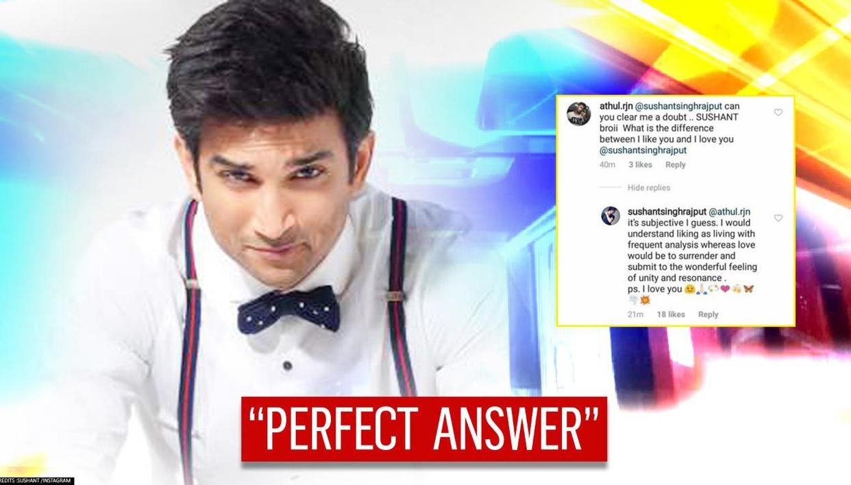 Sushants reply on difference between like you & love you makes fan hail genius - Republic World