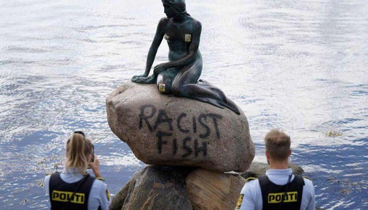 Copenhagen's famous Little Mermaid statue vandalised with 'Racist Fish' graffiti - Republic World