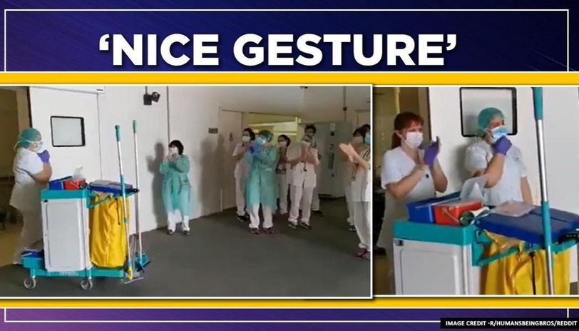 Coronavirus: cleaning staff girl receives applause from doctors, watch