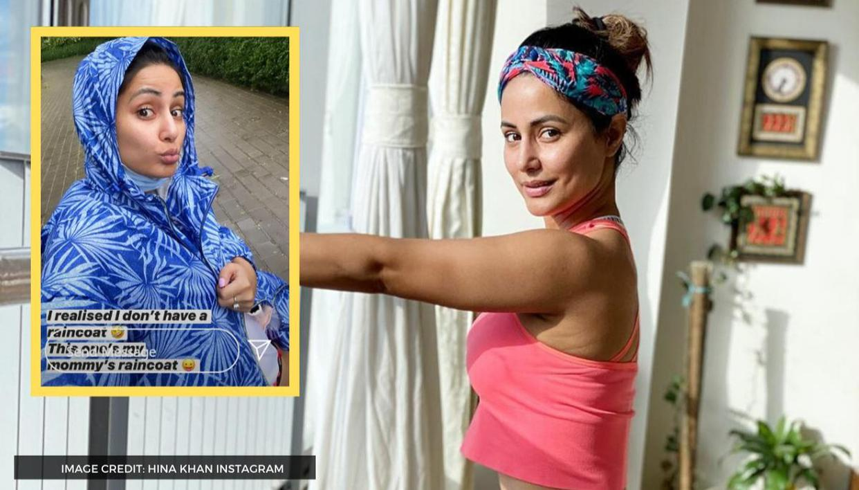 Photo of Hina Khan Borrows Mother's Raincoat During Rain But Does Not Miss Workout, Check It Out