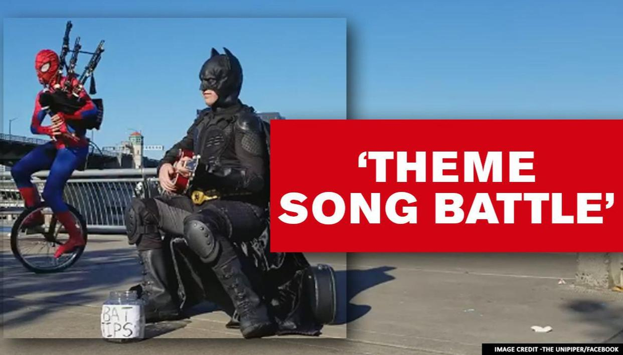 Ukulele playing Batman battles Spider-Man with fire-breathing bagpipes; Watch video - Republic World