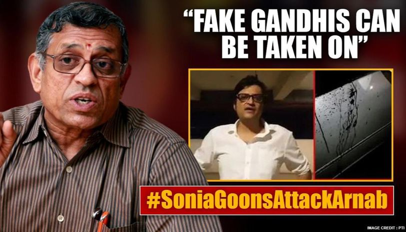 S Gurumurthy compares Arnab Goswami to Ramnath Goenka for taking on Gandhis after attack
