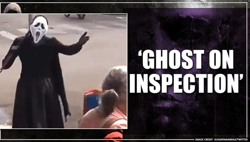 COVID-19: Man dressed as ghost goes on inspection amid lockdown