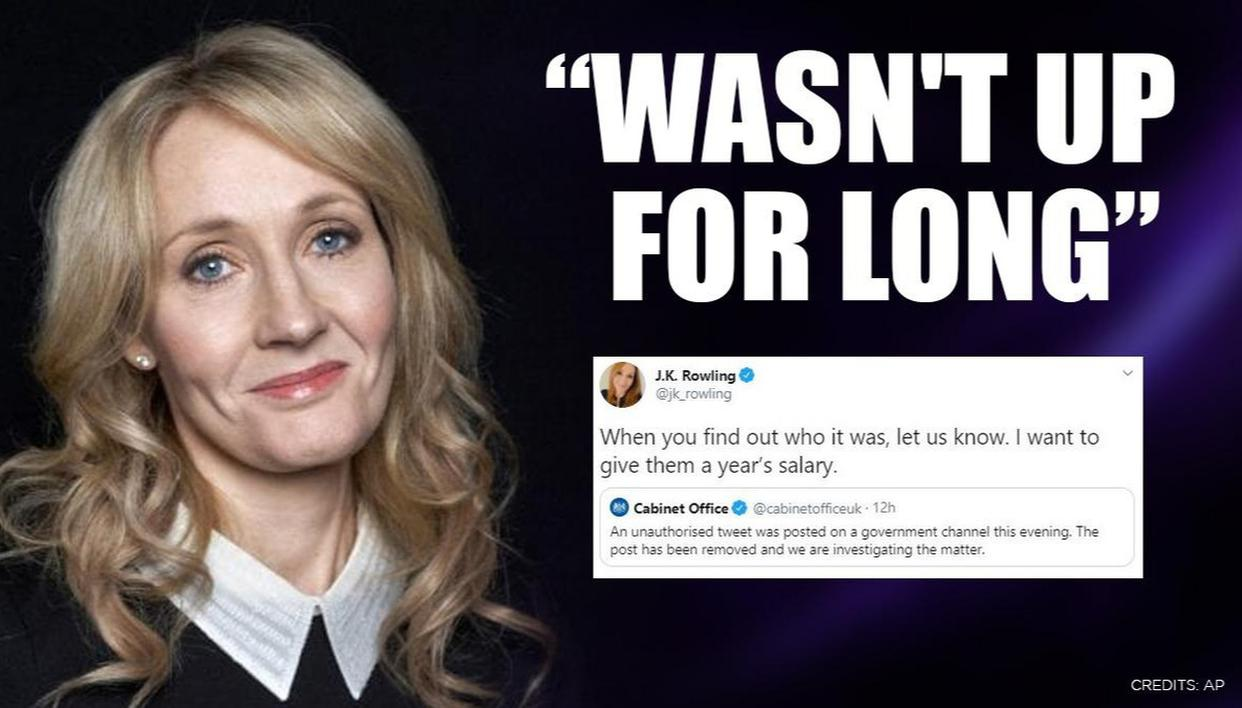 'Unauthorised' tweet takes swipe at UK govt, JK Rowling wants to give person year's salary - Republic World