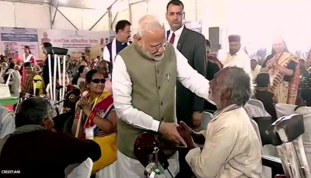Image result for Rashtriya Vayoshri Yojana: PM distributes aids and devices to Divyangjan and Senior Citizens
