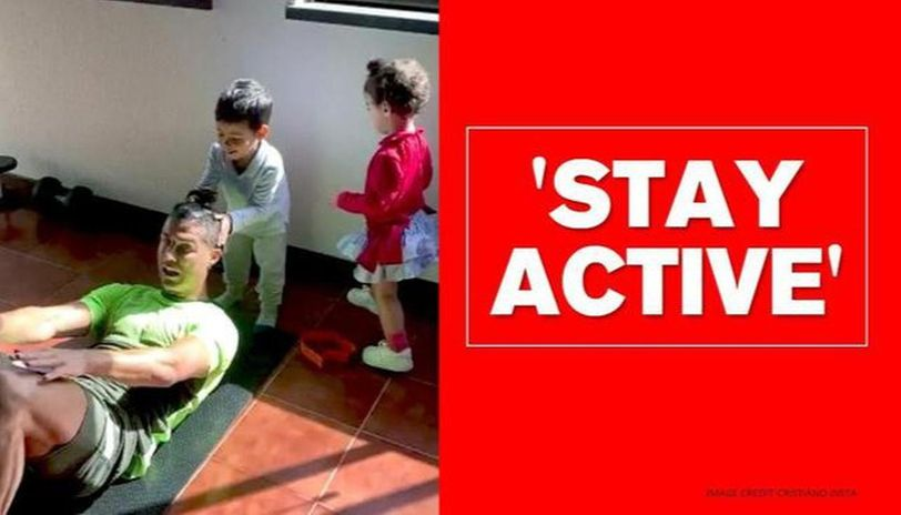 Cristiano Ronaldo Replaces Weights With Children During Home Workout Watch Video