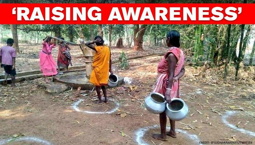 Coronavirus: Photo of villagers maintaining social distancing inspires people