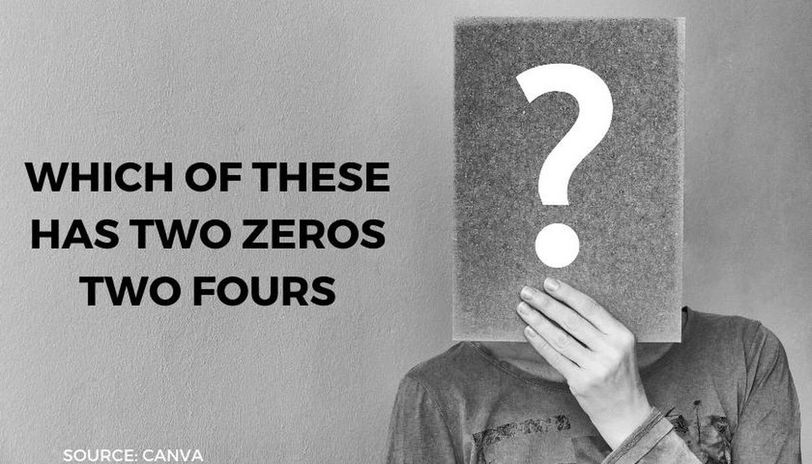 which of these has two zeros two fours answer